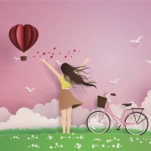Horoskop: Illustration einer Frau mit Herzchenballon