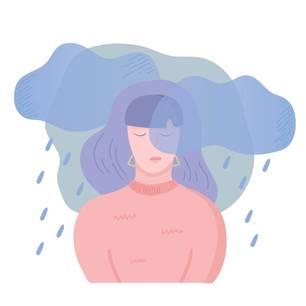 Horoskop: Illustration einer traurigen Frau mit Regenwolke über dem Kopf