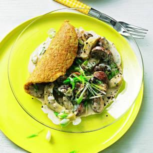 Schnelles Mittagessen: Omelett mit Rahm-Champignons