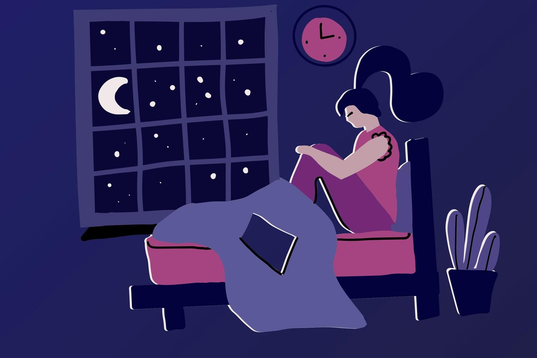 Horoskop: Eine Frau sitzt auf ihrem Bett und leidet unter dem Mond (Illustration)