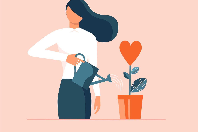 Horoskop: Illustration einer Frau, die eine Blume gießt