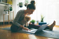 Frau mit Hund am Laptop