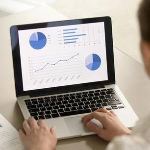 Controller: Frau sitzt am Laptop mit Statistiken
