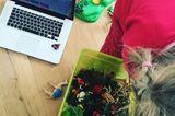 Homeoffice mit Kindern:  Kind mit Playmobil-Kiste