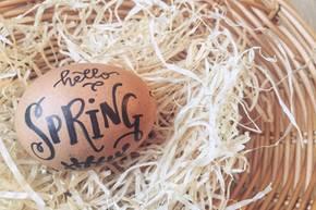 Handlettering für Ostereier: Osterei mit Handlettering