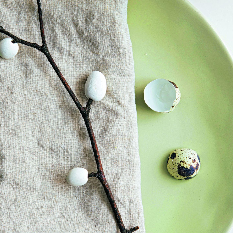 Osterdeko selber machen: Zweig mit Eiern