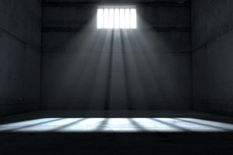 Schwedische Gardinen: Leerer Gefängnisraum