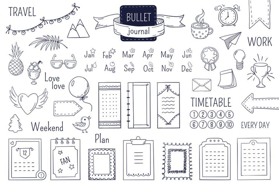 Bullet Journal Ideen: einfache Zeichnungen