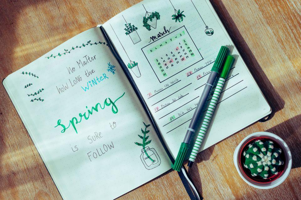 Bullet Journal Ideen: Bullet Journal mit Monatsplaner