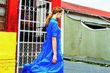 Sommermode 2020: Blaues Baumwollkleid