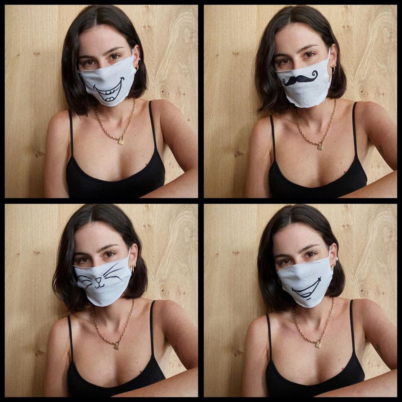 Stars im Home Office: Lena Meyer Landrut mit Gesichtsmaske