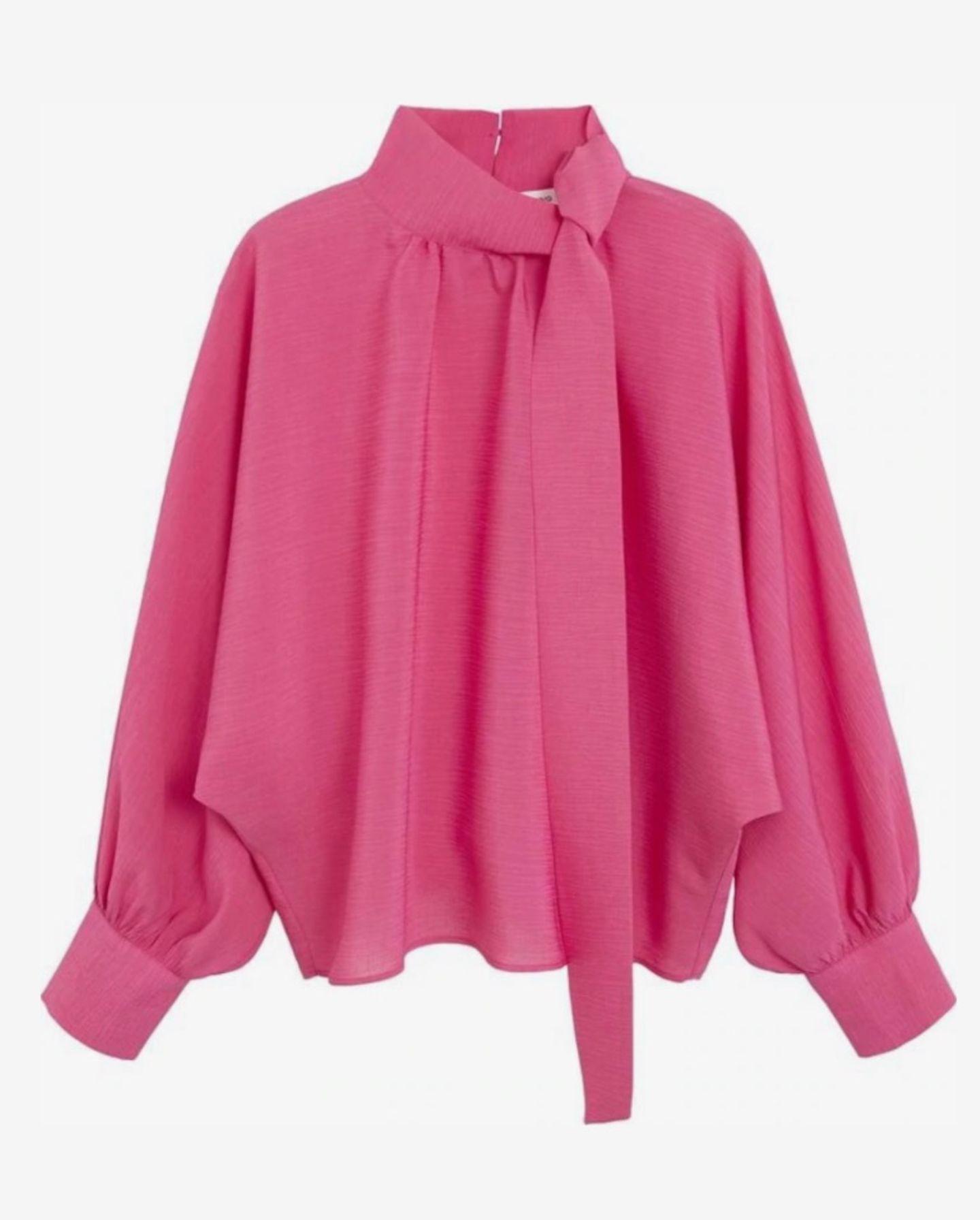Frühlings-Bluse: Pinke Bluse mit Schleife