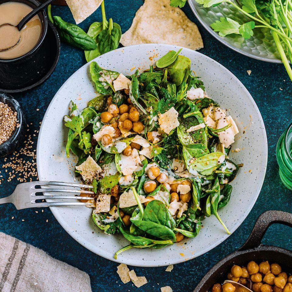 Kichererbsen-Spinat-Salat
