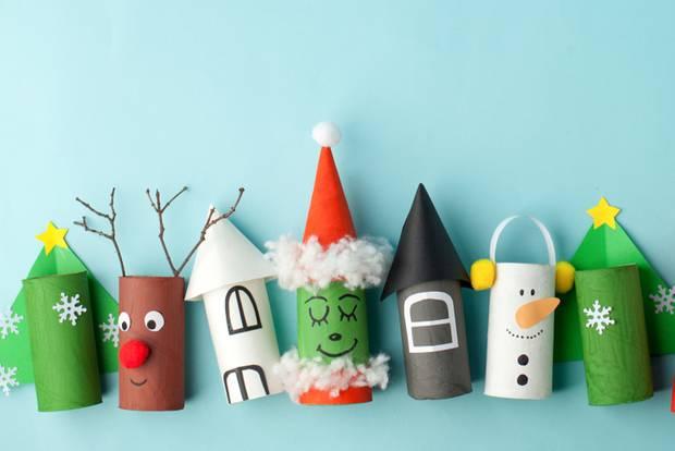 Basteln mit Klorollen: Weihnachtliche Deko aus papprollen