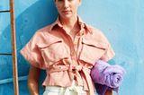 Pastelltöne: Hemdbluse zu Paperbaghose