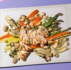 Hähnchensalat mit Bohnen und Spargel