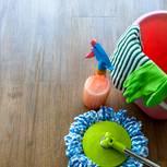Vinylboden reinigen: Putzutensilien auf Vinylboden