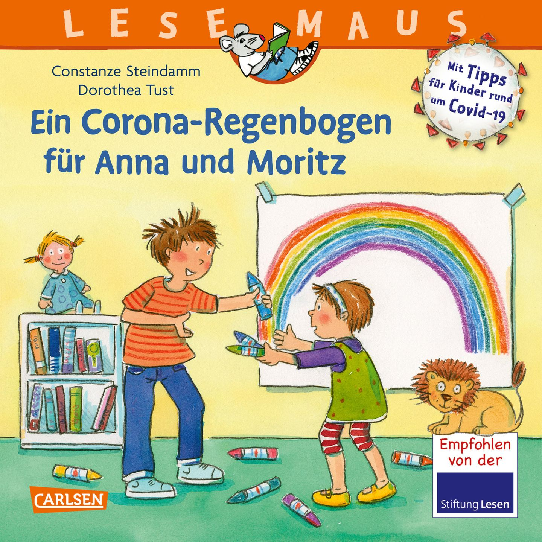 """Buchtipps der Redaktion: Buchcover """"Ein Corona-Regenbogen für Anna und Moritz"""""""