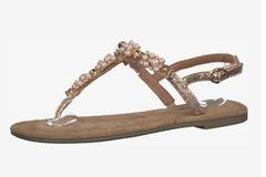 Flache Schuhe: Perlensandalen