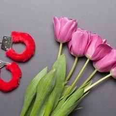 Sexhandschellen und ein Strauß Tulpen
