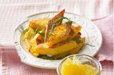 Gebackene Polenta mit Apfelmus und Mascarpone