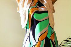 Sommerkleider: Viskosekleid mit grafischem Muster