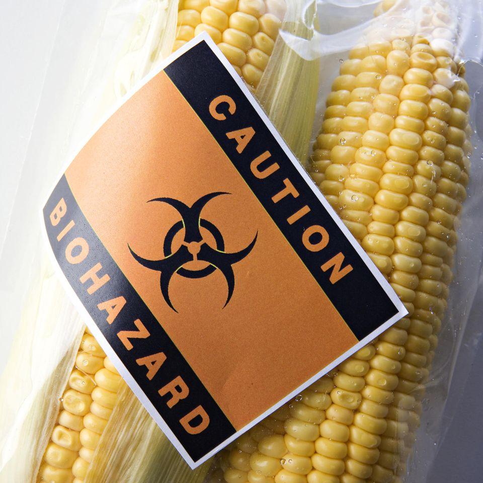 Lebensmittel-Verbote: Eingeschweißter Mais mit Warnung