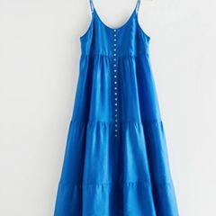 Beine kaschieren: Blaues Maxi-Kleid
