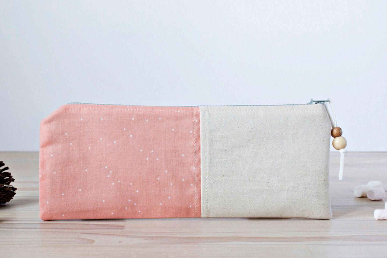 Federmäppchen nähen: Federmäppchen in rosa und weiß