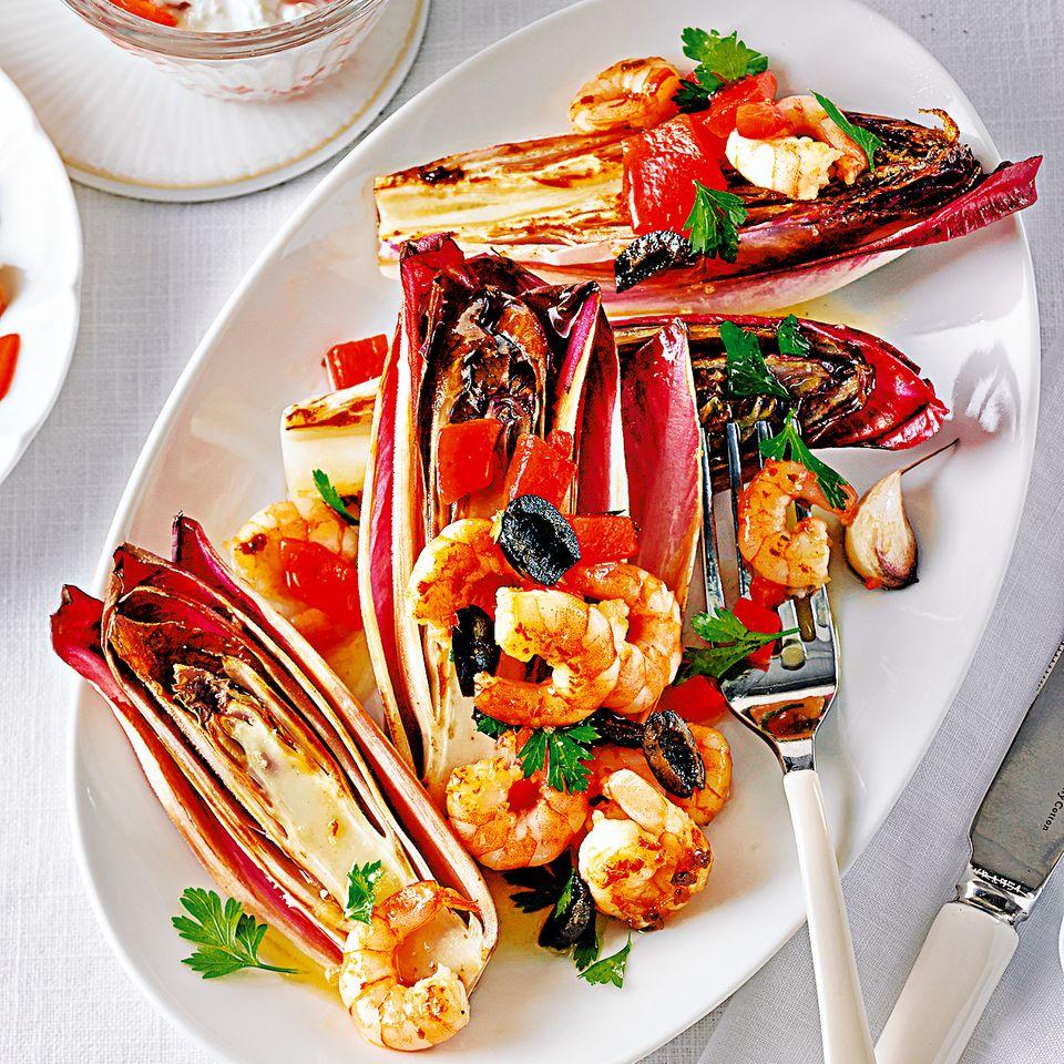 Chicorée-Stew mit Garnelen