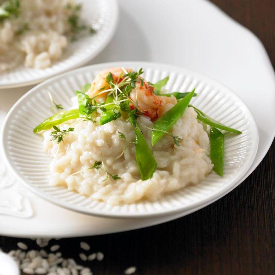 Zuckererbsen-Risotto mit Wasabi-Butter