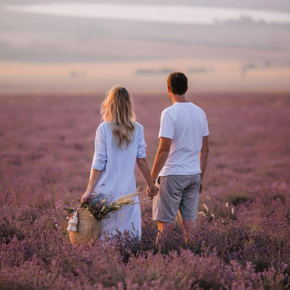 Was muss ich über einen Menschen wissen, dem ich meine Liebe gestehe? Ein Händchen haltendes Paar auf einer Blumenwiei