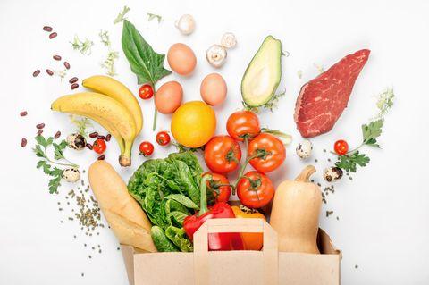 Tasche mit Lebensmitteln