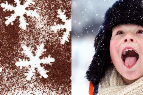 Schokoladen-Schnee in der Schweiz: Junge im Schnee