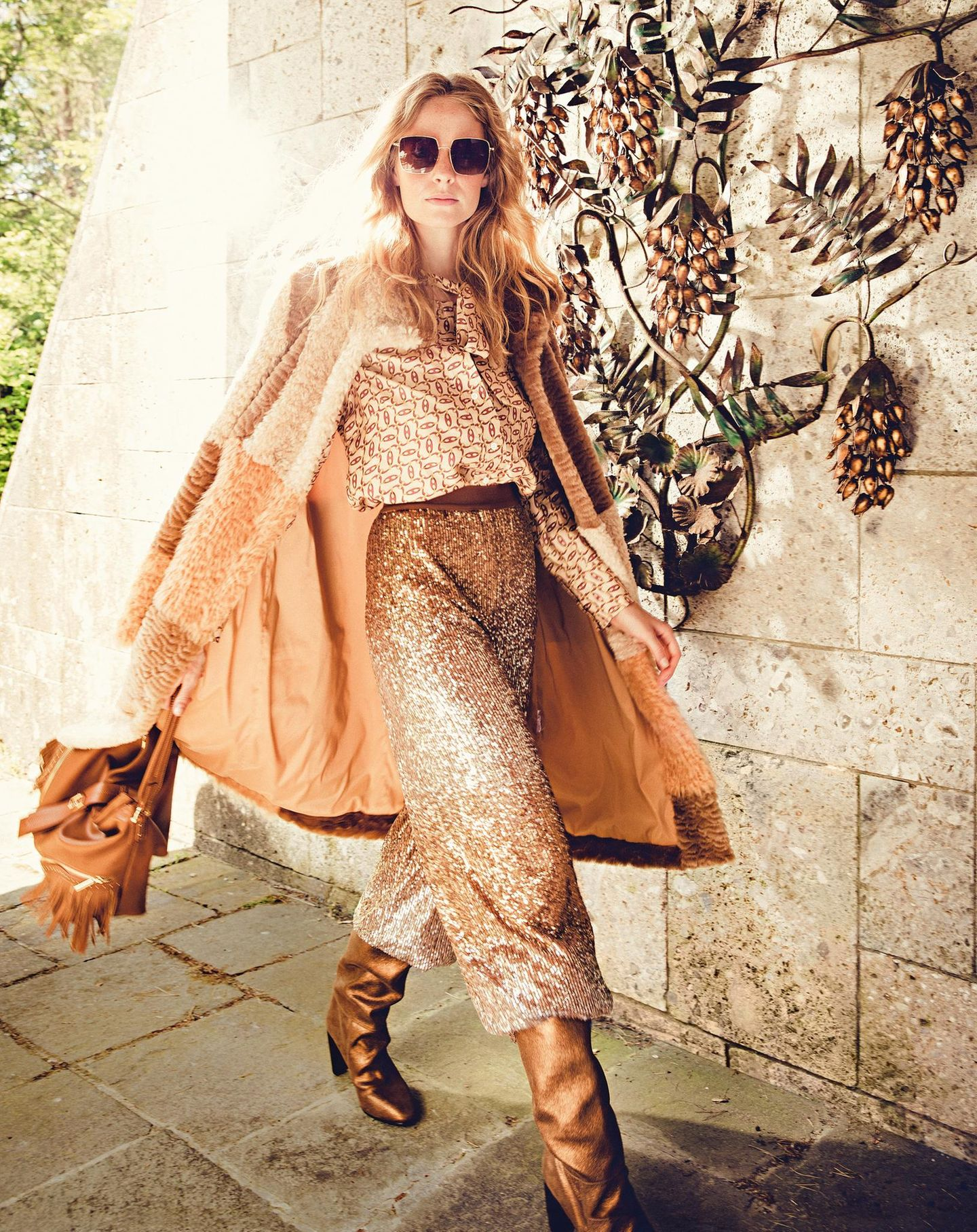 Boho-Chic: Goldenes Outfit