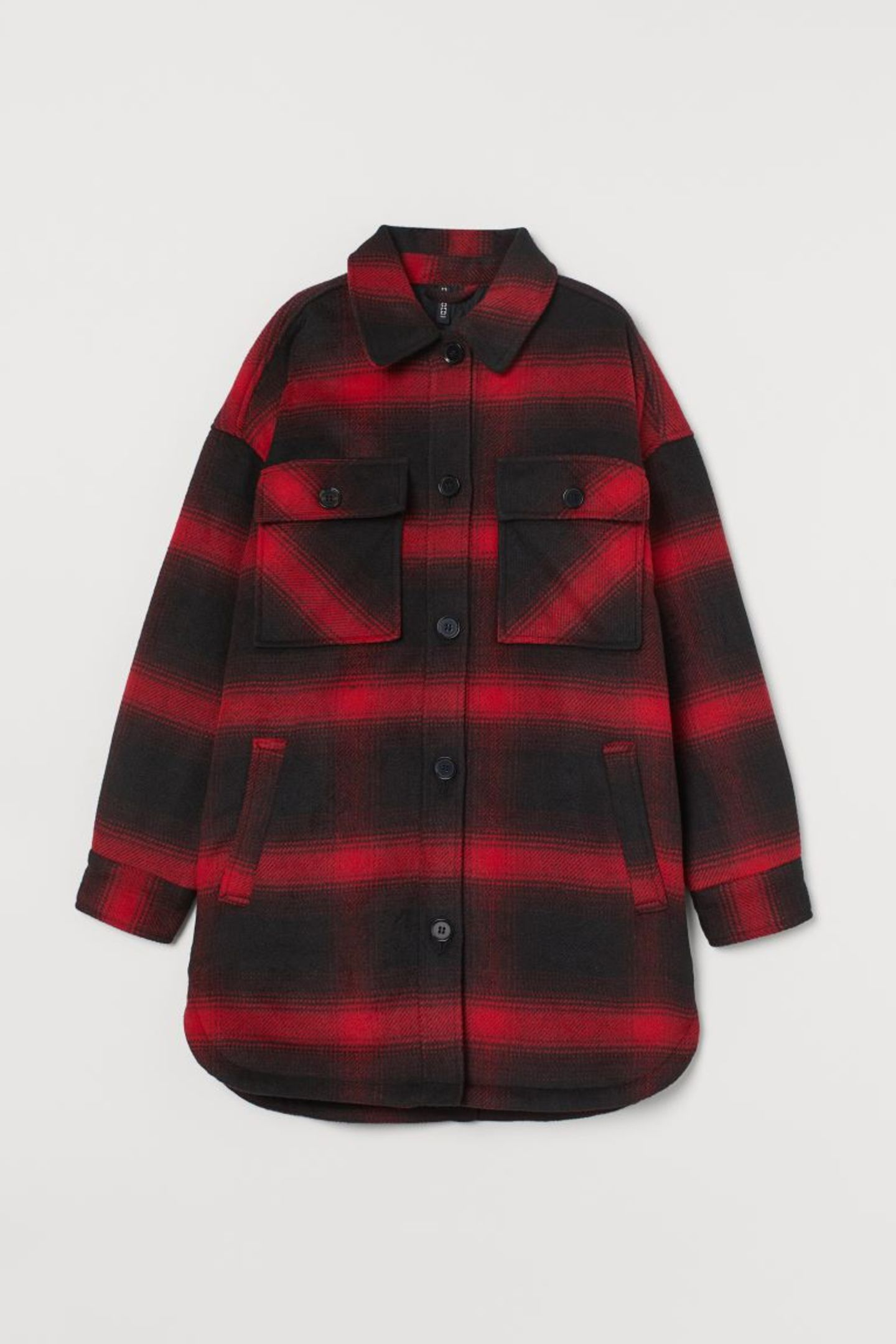 """Probably the coolest fashion hybrid of the year: the Shaket! The cross between shirt and jacket is a real autumn must-have, especially in the lumberjack look. From H&M, around 50 euros. """"Loading ="""" lazy"""