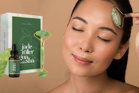 Premium Jade Roller mit Vitamin C Serum und Gua Sha