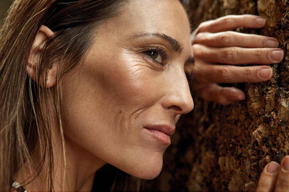 Hautalterung: Gesicht eines Models