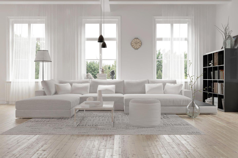 Wohntrend Weiß: Weiß eingerichtetes Wohnzimmer