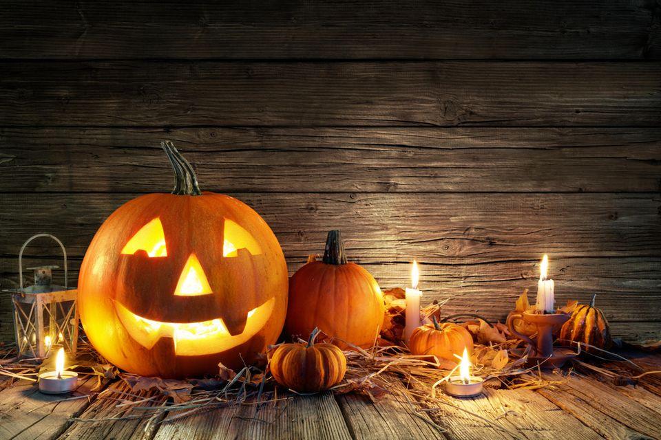 Kürbisse in der Halloween-Nacht.