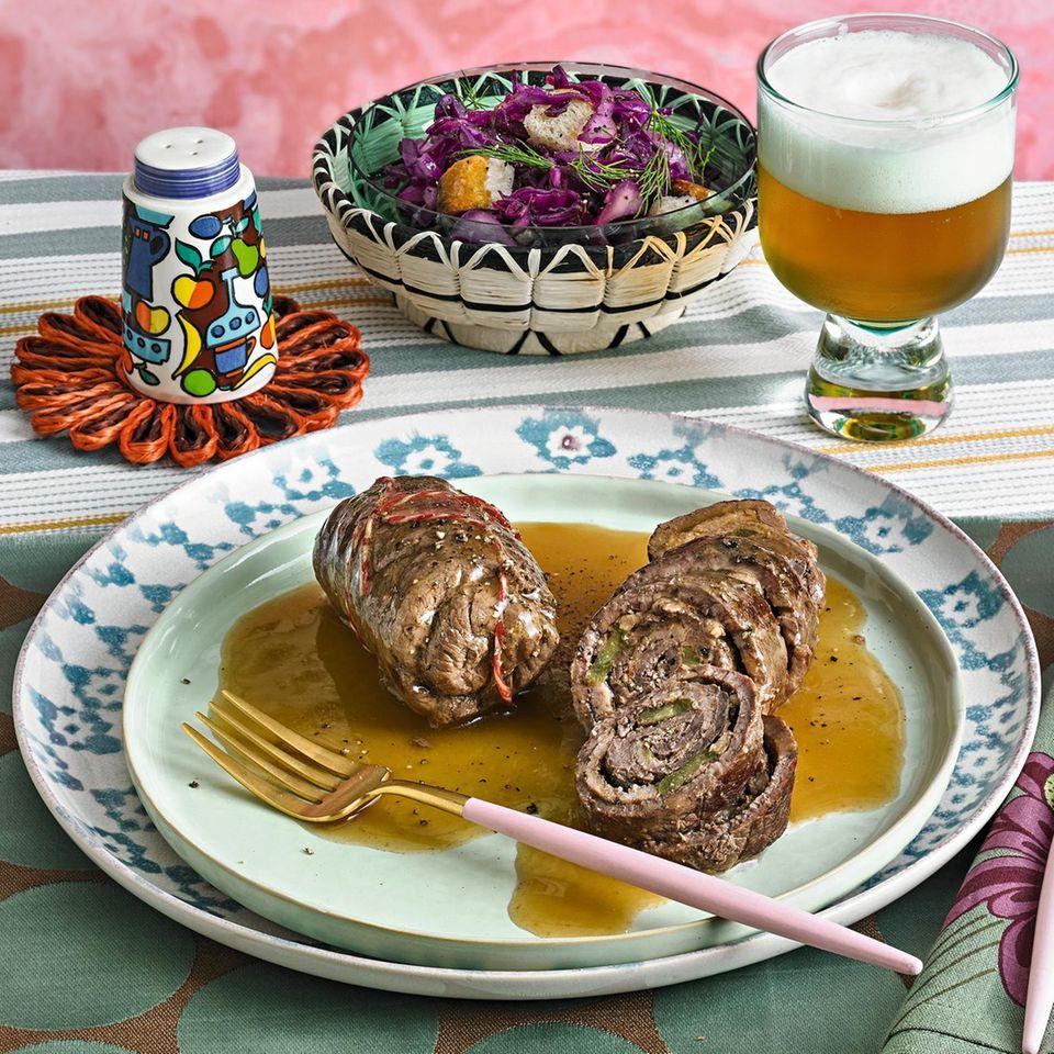 Bayerische Roulade mit Weißwurstfüllung