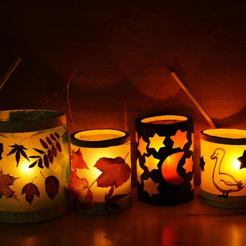 Laterne basteln Kinder einfach: vier Laternen, selbstgemachte Laternen, Laterne mit Licht