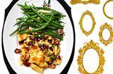 Speck-Schmarrn mit Bohnensalat und Birnensenf
