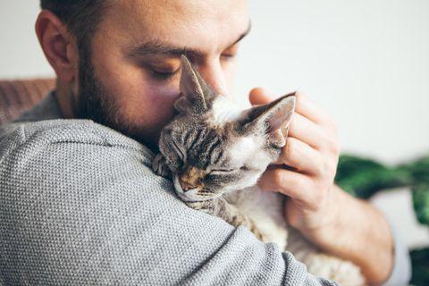 Männer erzählen: Mann mit Katze auf dem Arm