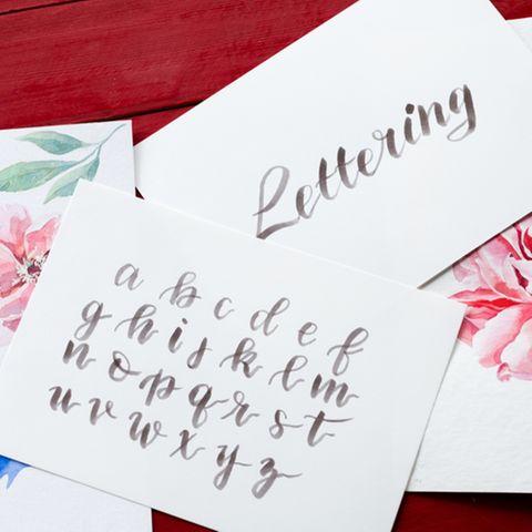 Handlettering: Bemalte Karten