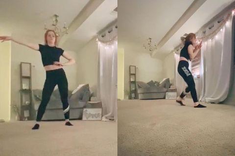 Frau wird beim Tanzen von Stalker überrrascht