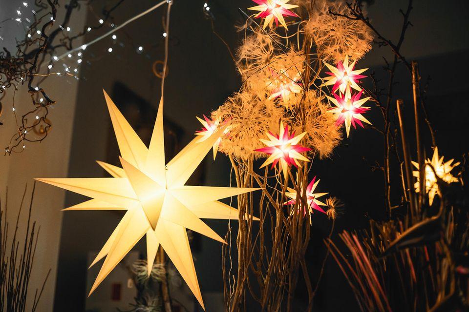 Weihnachtssterne basteln: Weihnachtsstern, leuchtender Stern hängt im Fenster, DIY-Weihnachtsstern