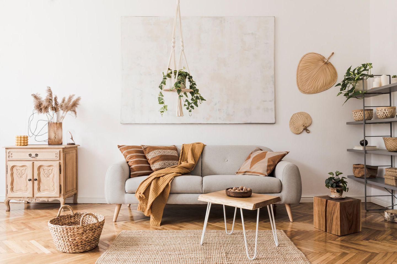 Hängepflanzen: Wohnzimmer mit Hängepflanze