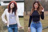 """Zwischen diesen Fotos liegen circa sieben Jahre: 2014 ist Lisa Gelbrich Kandidatin der neunten Staffel von """"Germany's next Topmodel"""", heute verdient sie als Fitness-Influencerin ihr Geld. Mit 20 Kilo mehr, neuen Kurven (sie bekennt sich zu einer Brust-OP) und neuer Haarfarbe begeistert sie rund 830 Tausend Abonnenten auf Instagram."""
