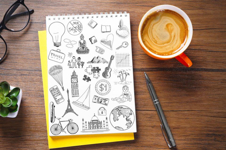 handlettering: Notizblock mit Zeichnungen